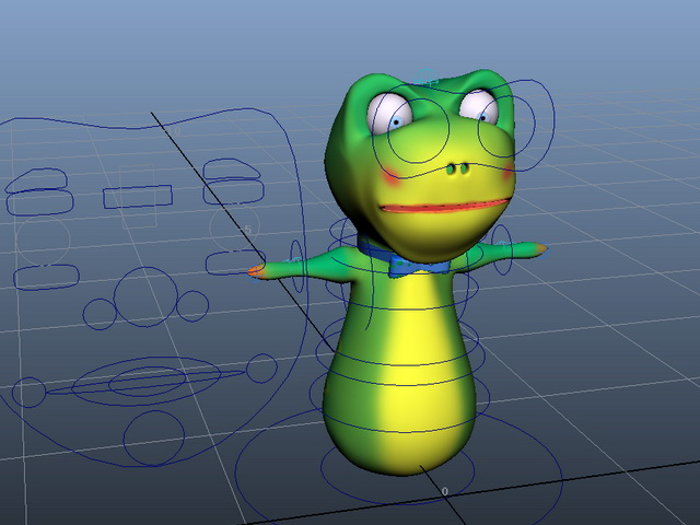 Green Worm Cartoon Rig 3d model rendered image
