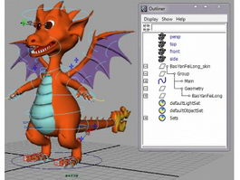 Cute Fire Dragon Rig 3d model