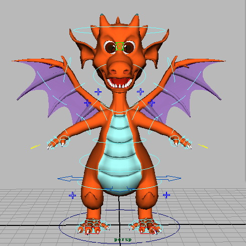 Cute Fire Dragon Rig 3d model rendered image