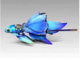 Blue Goldfish Cartoon 3d model