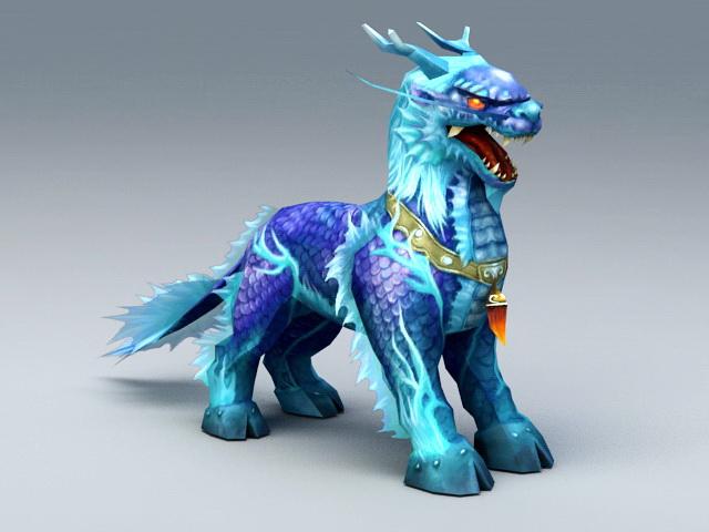 Blue Kirin 3d model rendered image