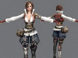 Pretty Female Pirate 3d model