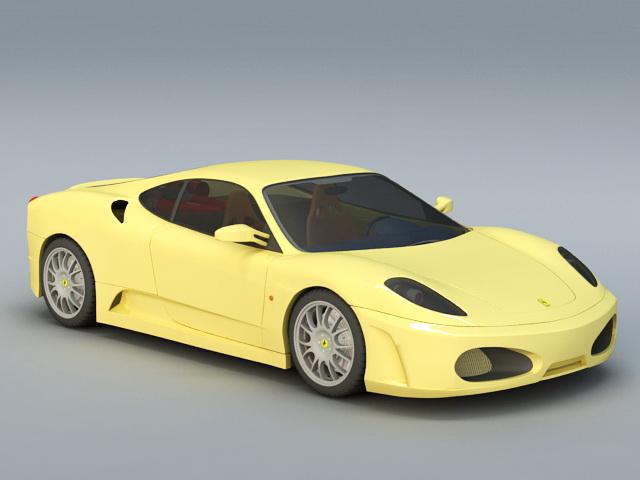 Yellow Ferrari 3d model rendered image