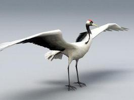 Red Crane Bird 3d model