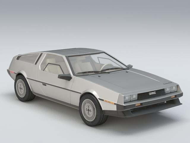 DeLorean DMC-12 3d model rendered image