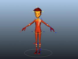 Red Boy Cartoon Rig 3d model