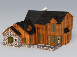 old wooden house 3d model - Free 3d House