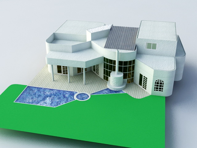 Villa with pool 3d model 3ds max files free download for 3d pool design online free