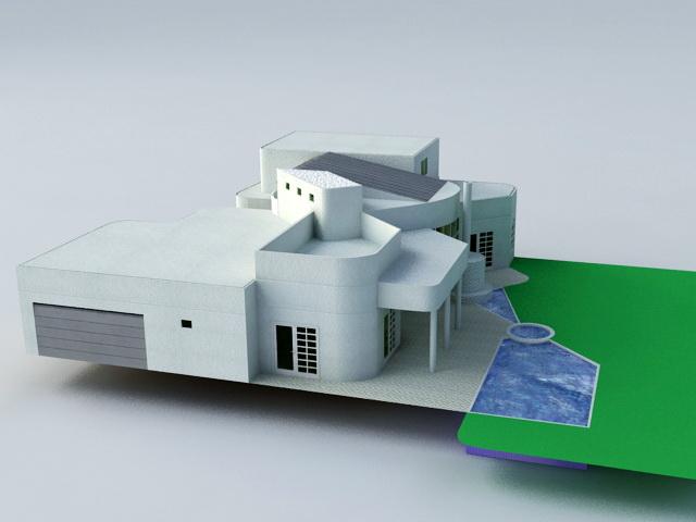 Villa with Pool 3d model