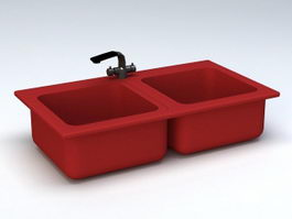 Red Double Kitchen Sink 3d model