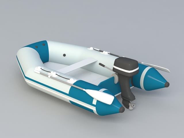 Motor Inflatable Boat 3d model rendered image