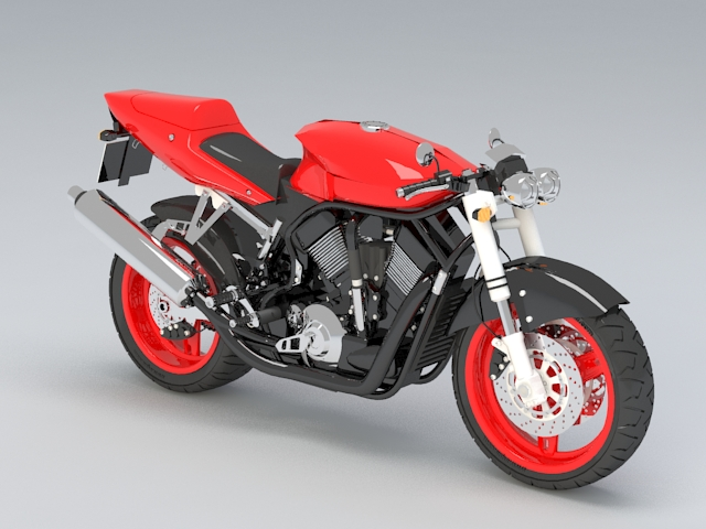 Red Motorcycle 3d model rendered image