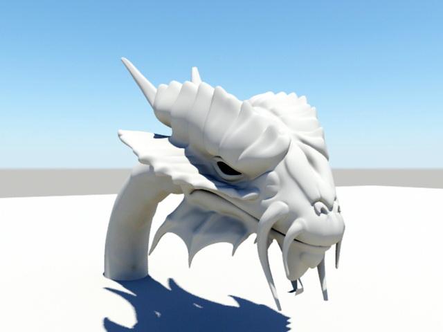 Dragon Head 3d model rendered image