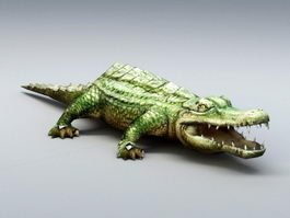 Green Crocodile 3d model
