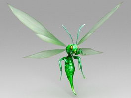 Green Cartoon Bee 3d model