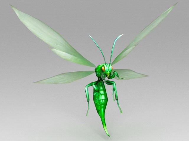 Green Cartoon Bee 3d model rendered image