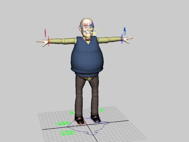 Funny Old Man Rig 3d model