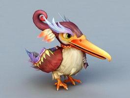 Cartoon Cormorant Bird 3d model