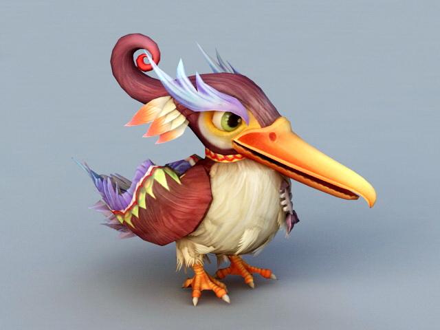 Cartoon Cormorant Bird 3d model rendered image