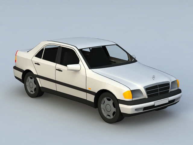 Modern Classic Mercedes Sedan 3d model rendered image