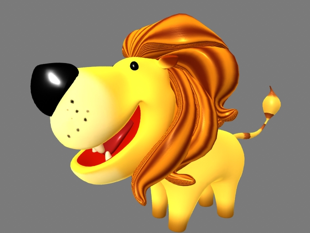 Cute Cartoon Lion 3d model rendered image