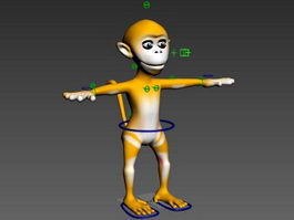 Cartoon Monkey Rig 3d model