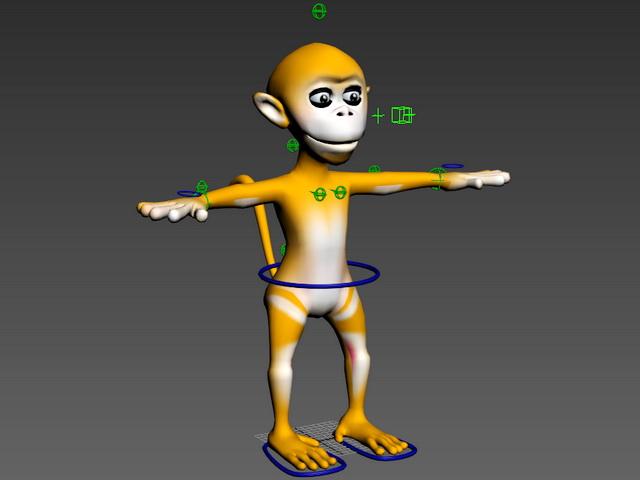 Cartoon Monkey Rig 3d model rendered image