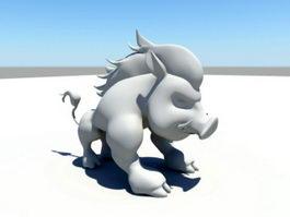 Wild Boar Cartoon 3d model