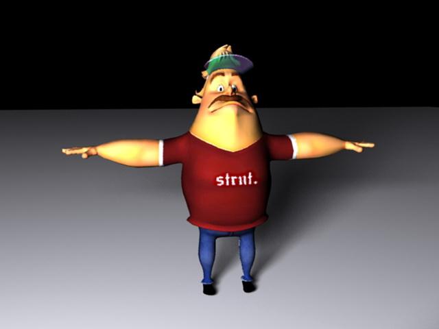 Fat Man Cartoon Rig 3d model