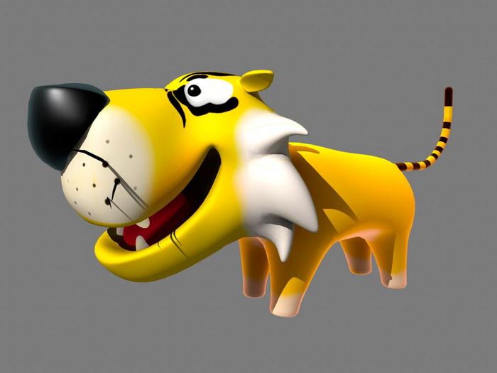 Cartoon Tiger Rig 3d model rendered image