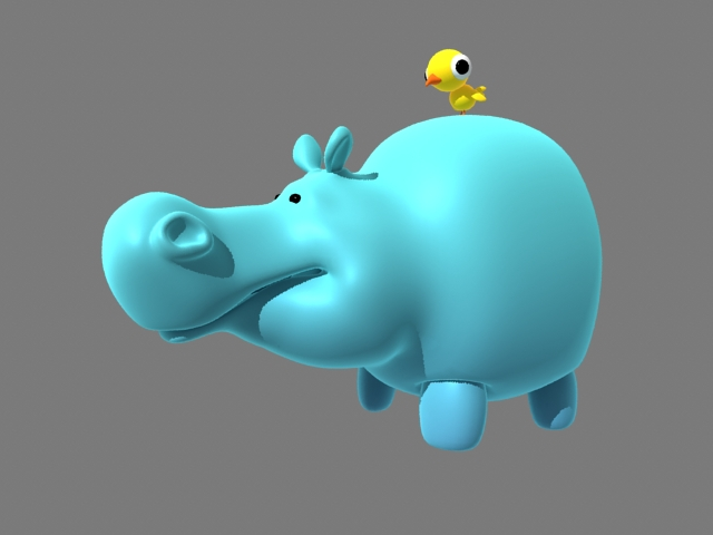 Cartoon Hippo and Bird Rig 3d model rendered image