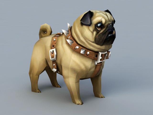 Pug Dog 3d model rendered image