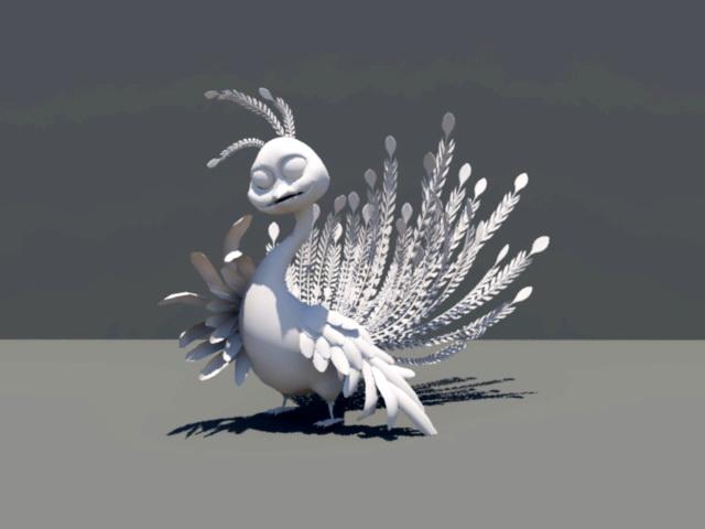 Cartoon Peafowl 3d model rendered image
