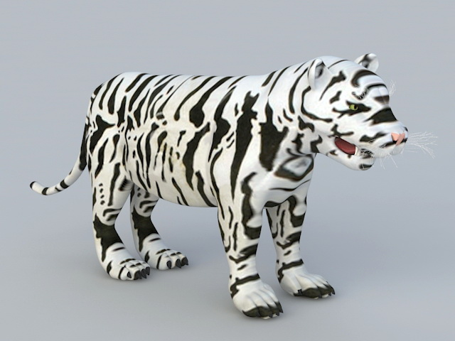 Baby White Tiger 3d model rendered image
