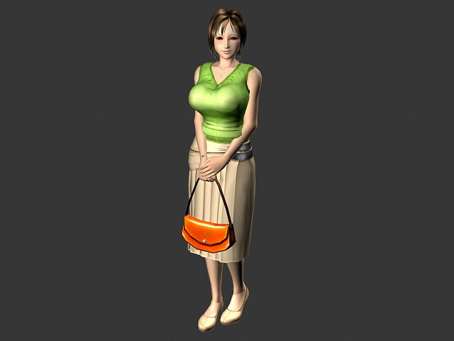 Anime Woman Animated Rigged 3d model