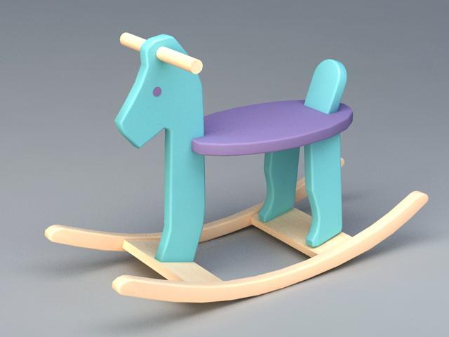 Wooden Rocking Horse 3d model rendered image