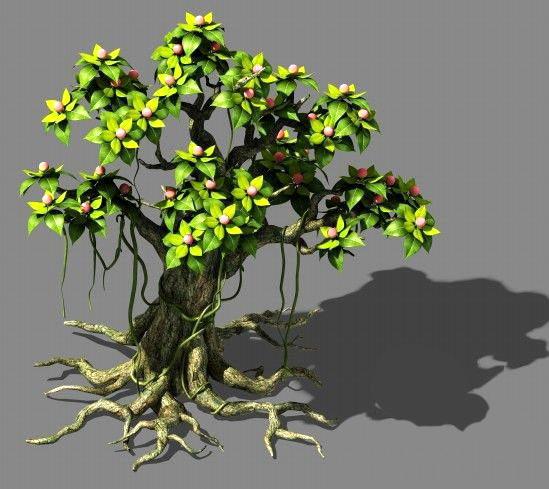 Big Cartoon Tree 3d model rendered image