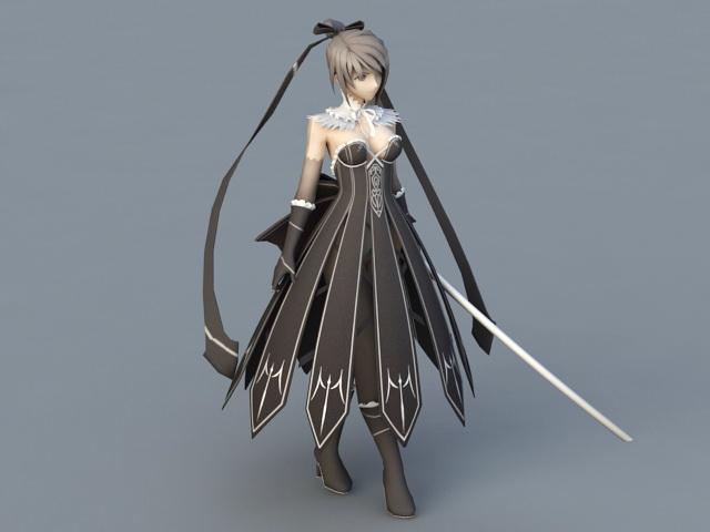 Anime Warrior Girl 3d model