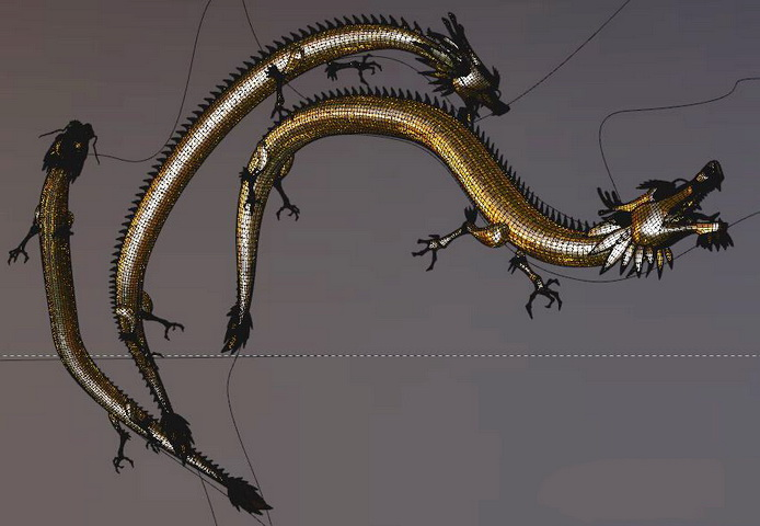 Gold Chinese Dragon 3d model rendered image