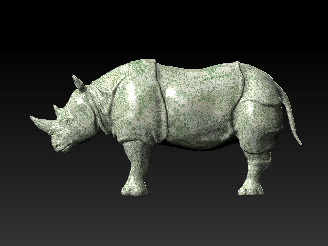 Rhino Sculpture 3d model rendered image