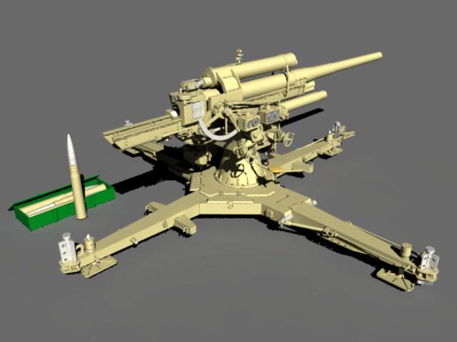 88 Mm Artillery 3d model rendered image