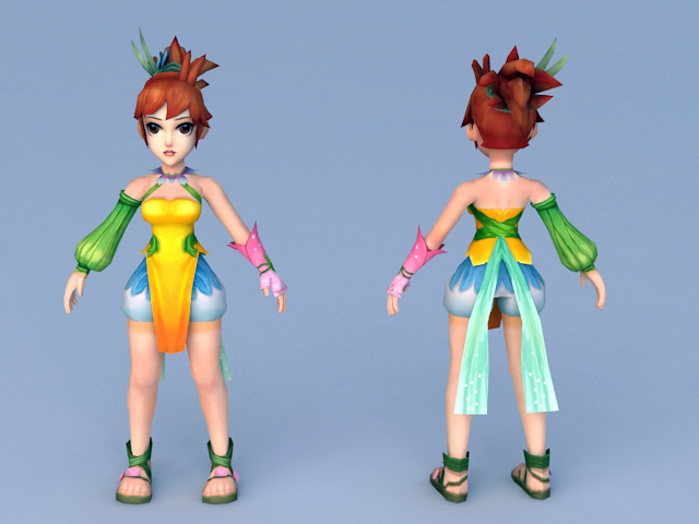 Chinese Anime Girl Character 3d model