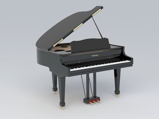 Black Grand Piano 3d model rendered image