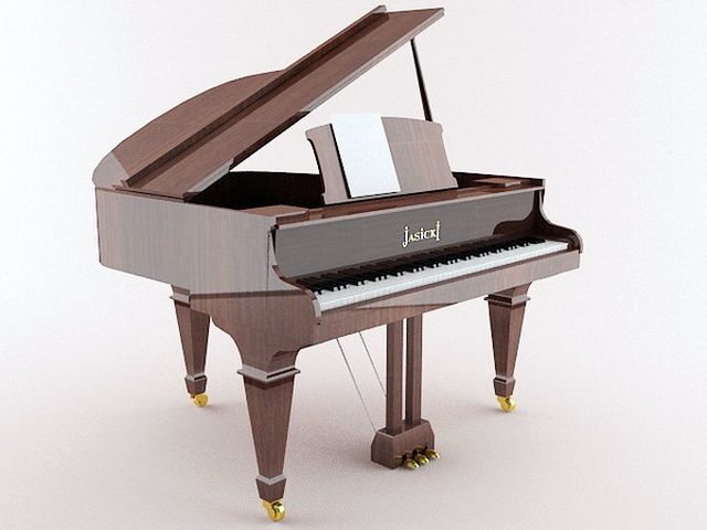 Brown Grand Piano 3d model rendered image