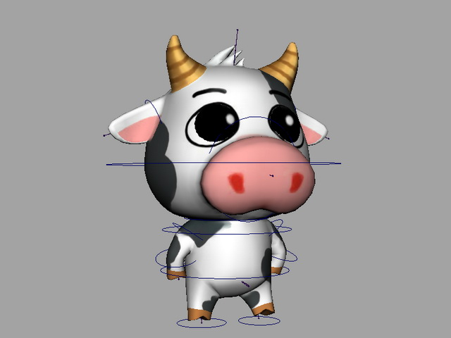 Animated Cartoon Cow Rigged 3d model rendered image