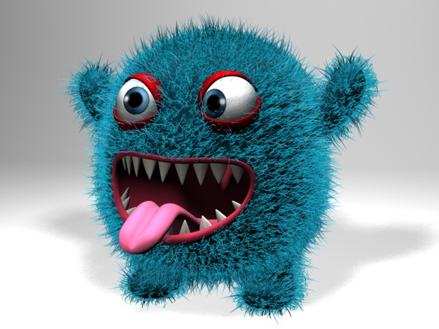 Plush Monster 3d rendering