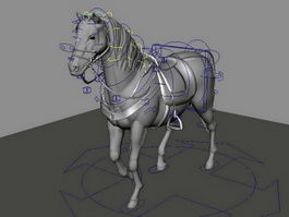 Saddled Horse Rig 3d model