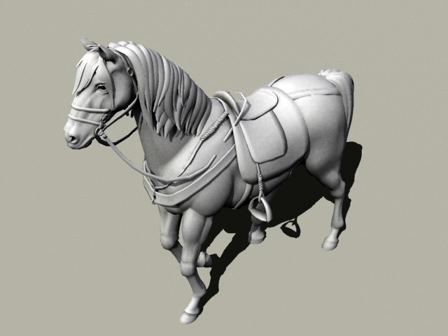 Saddled Horse Rig 3d model rendered image