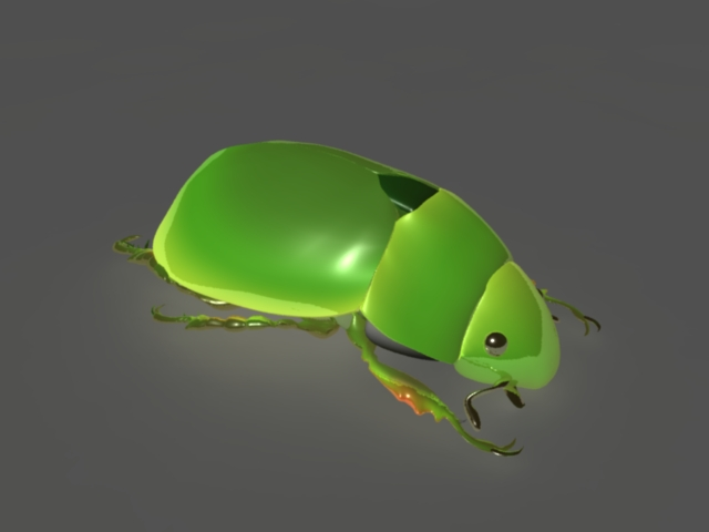 Green Beetle Rig 3d model rendered image