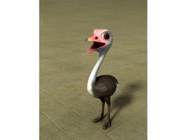 Baby Ostrich Cartoon 3d model